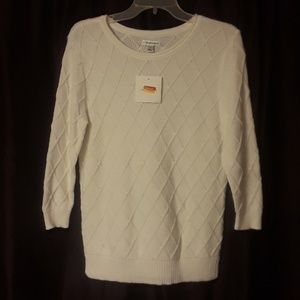 Croft & Barrow Lattice Design Sweater in White New